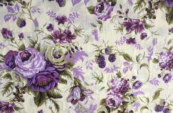 Tkanina bawełna- fioletowe róże