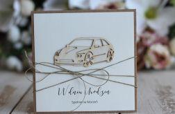 Rustykalna kartka urodzinowa samochód