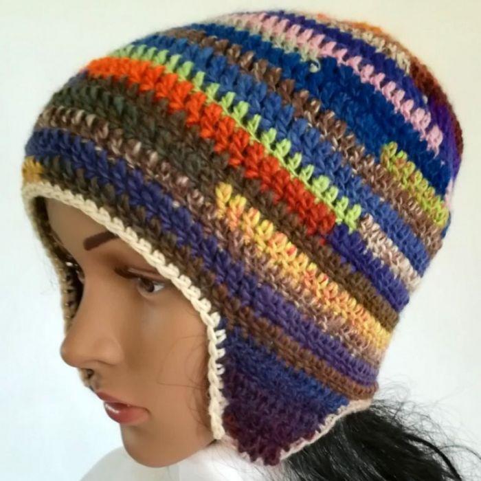 Czapka zimowa tęcza energetyczna - czapka w paski