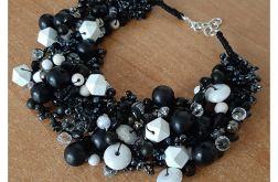 4170 czarno - biały naszyjnik kolia