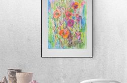 Rysunek łąki, kwiaty obraz n12 szare tło
