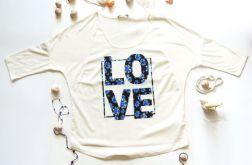 Bluzka damska z nadrukiem LOVE - rozmiar L
