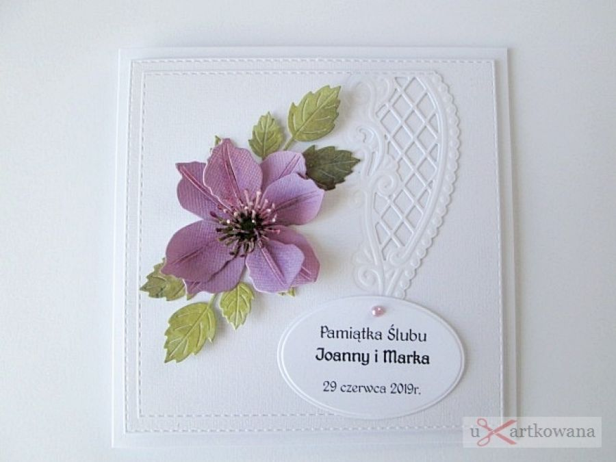 Kartka ŚLUBNA - fioletowy clematis