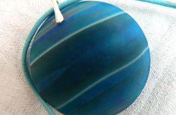 Matowy, niebieski agat, wisiorek w srebrze