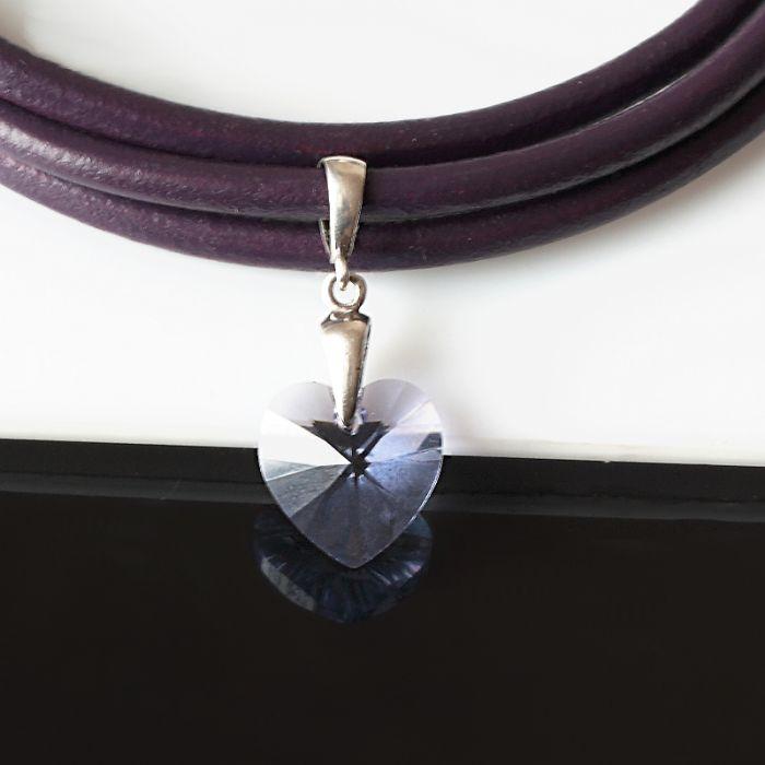Serca trzy - komplet - swarovski, srebro