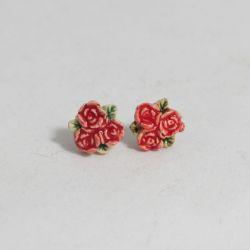 Kolczyki 3 czerwone róże sztyft