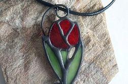Wisior czerwony tulipan Tiffany