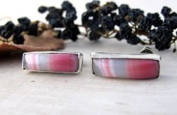 Kolczyki z różowym agatem, srebrne wkrętki