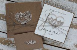 Rustykalna kartka ślubna z pudełkiem 3d2