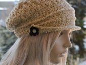 W kolorze beżowym-efekt boucle kaszkiet -czapka z daszkiem,unikalna i cieplutka ;o)