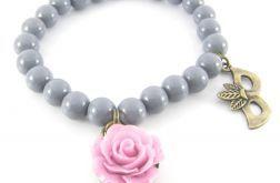 Szaro- różowa bransoletka