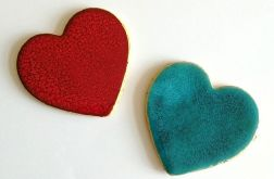 Dwa serca - magnesy ceramiczne na lodówkę