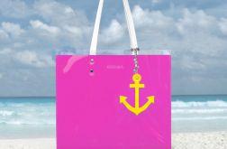 Marynarska torba z kotwicą - różowa