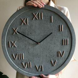 Zegar Betonowy Handmade Roman Antracyt Miedź
