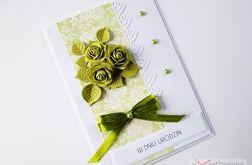 Kartka URODZINOWA z zielonymi różami