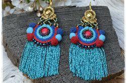 Kolczyki sutasz Frida II boho turkus