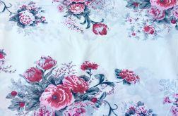 Tkanina bawełna- cygańskie róże na bieli