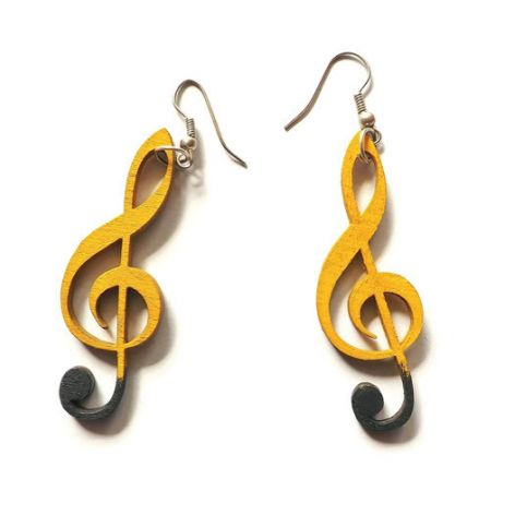 Kolczyki Klucze violinowe, czarno-żółte