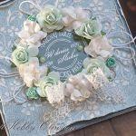 Ślubny wieniec róż - turkus -