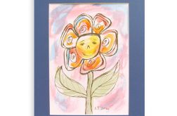 Kwiatuszek akwarela, ładny obrazek malowany