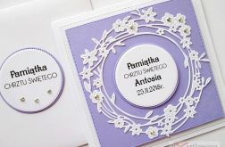 Kartka PAMIĄTKA CHRZTU fioletowo-biała