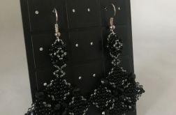 Unikalne kolczyki ażurowe, czarne