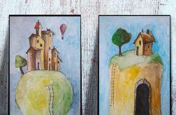 Domki dwie akwarele
