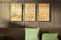 Obraz drewniany z wzorem kropel wody -tryptyk