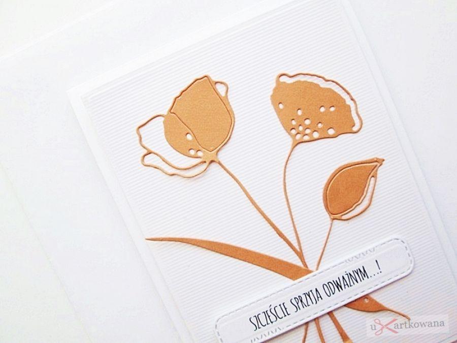 Kartka UNIWERSALNA - pomarańczowe kwiaty