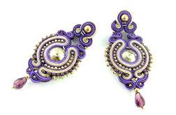Kolczyki fioletowe platynowe długie sztyfty