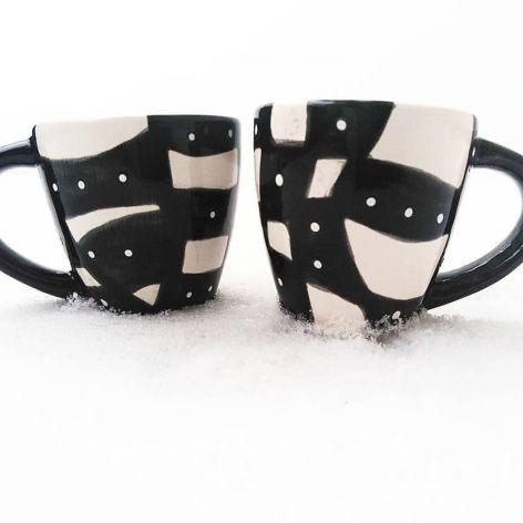 Filiżanki ceramiczne - Black&White