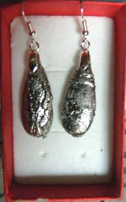 Kryształ platerowany srebrem, kolczyki