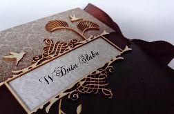 Kartka na ślub w brązach 01, prezent, pamiątka, pudełko