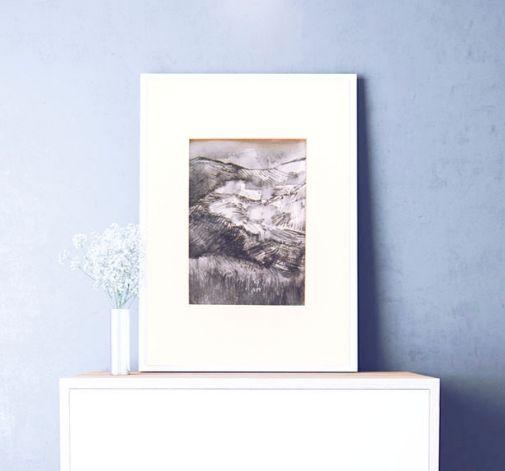 Szkic górski nr 9 -  czarno-biały rysunek
