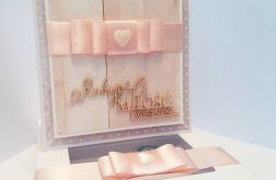 """""""Różowa elegancja"""" - Karteczka Ślubna"""