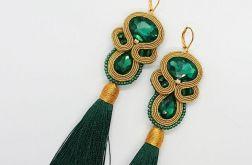 Zielono-złote kolczyki z chwostami