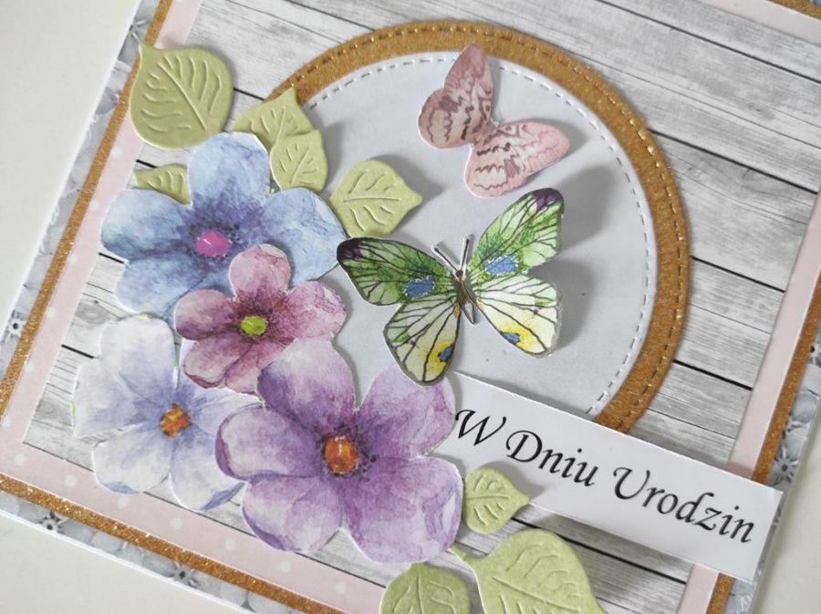 Kartka na Urodziny ręcznie robiona  motylki -