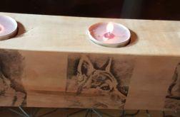 Świecznik  drewniany potrójny z obrazkiem