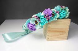 Wianek ślubny mięta i fiolet