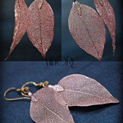 Kolczyki liście Magnolii w kolorze różowym
