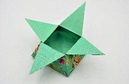 Pudełko gwiazda origami turkusowe kwiaty łąka
