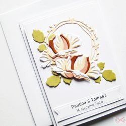 Kartka Ślubna - brzoskwiniowe róże