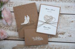 Oryginalna kartka rustykalna na ślub zestaw 1