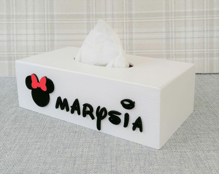 Pudełko na chusteczki Minnie= MmC12 - drewniane pudełko na chusteczki
