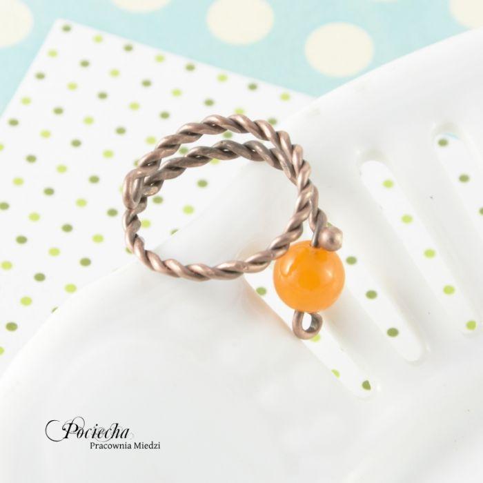 Orange - pierścionek z jadeitem