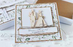 Kartka ślubna w pudełku eco listki