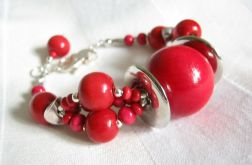Czerwone kule i kuleczki - bransoletka do kompletu