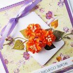 Kartka UNIWERSALNA z pomarańczowymi kwiatami