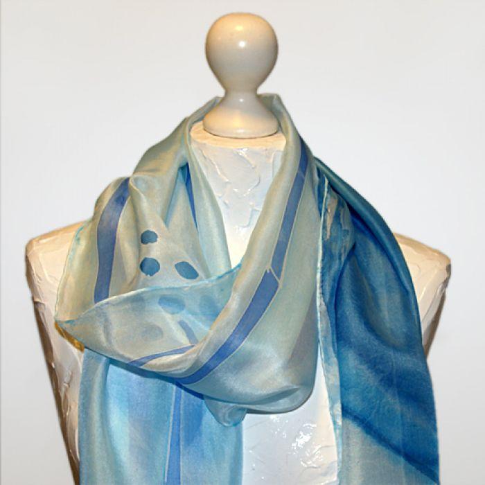 Szal jedwabny - blue