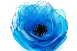 Broszka kwiat - niebieska 10 cm